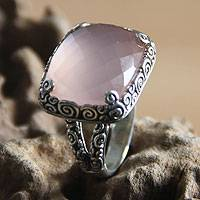 Sterling silver cocktail ring, 'Heart of Rose' - Blush Pink Chalcedony Ring Set in a Swirled Silver Band