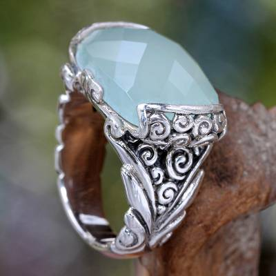 Sterling silver cocktail ring, 'Blue Depths' - Sterling Silver and Chalcedony Cocktail Ring