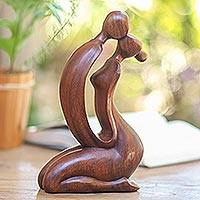 Wood statuette, 'A Kiss on the Cheek' - Wood statuette