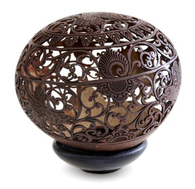 Unique Coconut Shell Bird Sculpture
