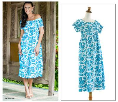 Cotton dress, 'Indonesian Sky' - Handmade Floral Cotton Dress