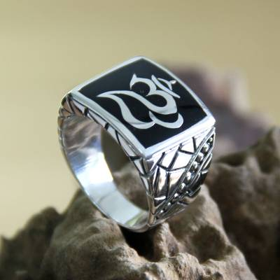 Men's sterling silver ring, 'Balinese Om' - Men's Unique Sterling Silver Signet Ring