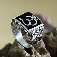 Men's sterling silver ring, 'Sanskrit Om'