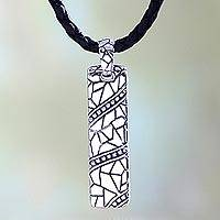 Men's sterling silver pendant necklace, 'Java Paths' - Men's Handcrafted Sterling Silver Pendant Necklace