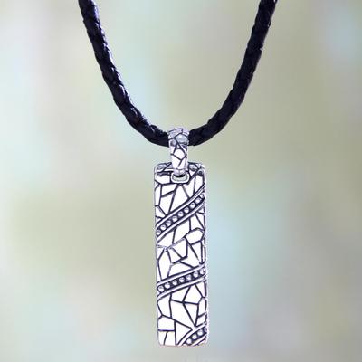 Men's sterling silver pendant necklace, 'Java Paths' - Men's Handcrafted Sterling Silver Pendant Necklace