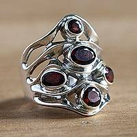 Garnet cluster ring, 'Scarlet Gaze' - Sterling Silver and Garnet Ring from Indonesia