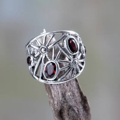 Garnet cocktail ring, 'Scarlet Starlight' - Modern 925 Sterling Silver Garnet Ring by Fair Trade Balines