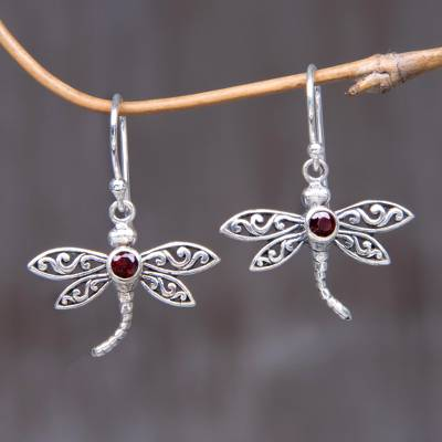 Garnet Dangle Earrings Enchanted Dragonfly Handcrafted Indonesian Silver And