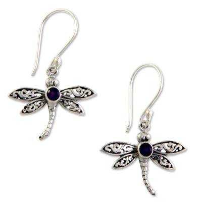 Amethyst dangle earrings, 'Enchanted Dragonfly' - Amethyst and Silver Earrings