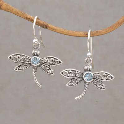 Blue topaz dangle earrings, 'Enchanted Dragonfly' - Sterling Silver and Blue Topaz Dangle Earrings