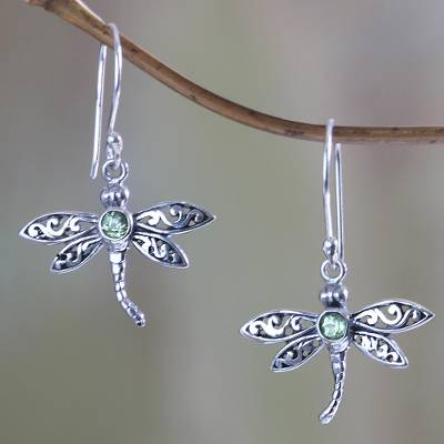Peridot dangle earrings, 'Enchanted Dragonfly' - Sterling Silver and Peridot Dangle Earrings