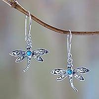 Sterling silver dangle earrings, 'Enchanted Dragonfly'