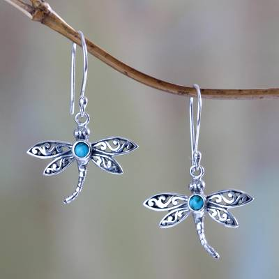 Sterling silver dangle earrings, 'Enchanted Dragonfly' - Reconstituted Turquoise and Silver Earrings
