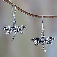 Smoky quartz dangle earrings, 'Enchanted Dragonfly'