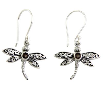 Smoky quartz dangle earrings, 'Enchanted Dragonfly' - Smoky quartz dangle earrings