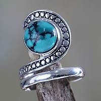 Sterling silver cocktail ring, 'Sanur Swirl' - Sterling Silver and Reconstituted Turquoise Ring