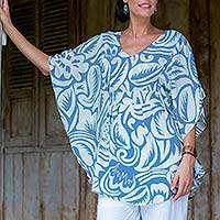 Silk caftan, 'Morning Blue' - Floral Patterned Silk Caftan