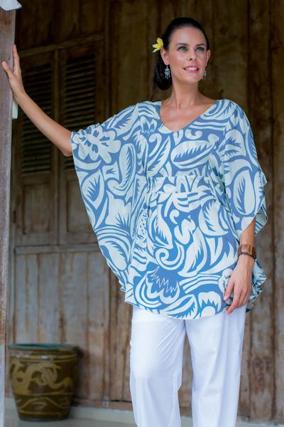 Silk caftan, 'Morning Blue' - Floral Patterned Silk Caftan