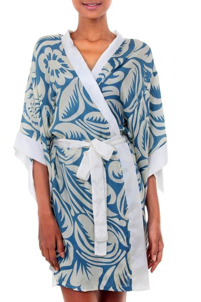 Blue Silk Painted Robe
