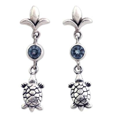 Sterling Silver and Blue Topaz Dangle Earrings