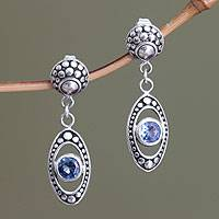 Blue topaz dangle earrings, 'Reflections in Blue'