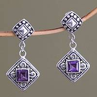 Amethyst dangle earrings, 'Dream Garden'