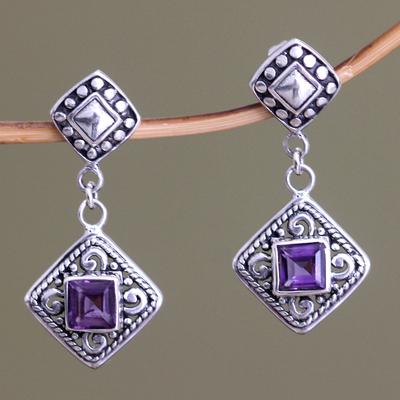 Amethyst dangle earrings, 'Dream Garden' - Fair Trade Sterling Silver and Amethyst Dangle Earrings