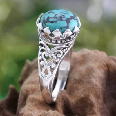 Sterling silver single stone ring, 'Sovereignty' - Silver and Reconstituted Turquoise Ring