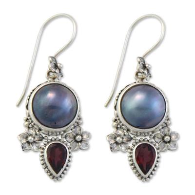 Cultured pearl and garnet floral earrings, 'Frangipani Trio' - Pearl and Garnet Silver Dangle Earrings
