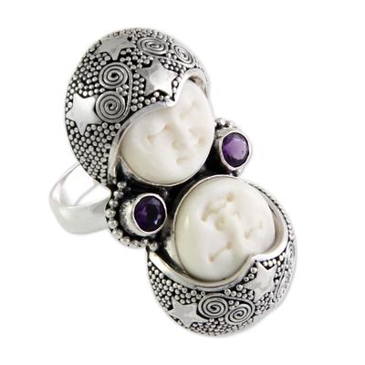 Amethyst cocktail ring, 'Royal Romance' - Artisan Crafted Sterling Silver and Amethyst Cocktail Ring