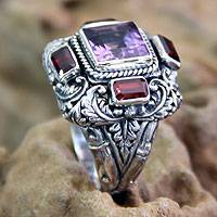 Garnet and amethyst multi-stone ring, 'Temple Guardian' - Amethyst and Garnet Cocktail Ring from Indonesia