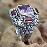 Amethyst and Garnet Cocktail Ring from Indonesia, 'Temple Guardian'