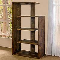 Teakwood bookcase, 'Menara' - Rustic Teakwood Bookcase Tower