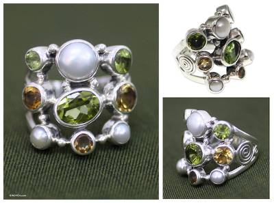 Pearl and peridot cluster ring, 'Tree of Lights' - Pearl and Peridot Cluster Ring