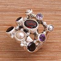 Pearl and garnet cluster ring, 'Tree of Lights' - Hand Made Pearl and Garnet Multigem Ring