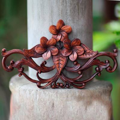 Wood wall sculpture, 'Frangipani Garland' - Handmade Floral Wood Relief Panel from Indonesia