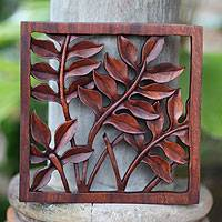 Wood relief panel, 'Melinjo Leaves' - Hand Crafted Wood Relief Panel