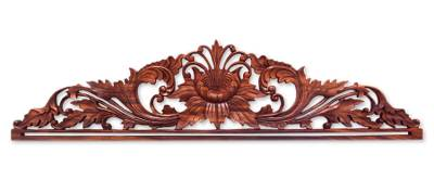Wood tapestry hanger, 'Island Peony' - Handcrafted Floral Wood Relief Panel