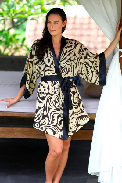 Silk robe, 'Golden Dusk' - Women's Short Black Silk Robe with Pale Yellow Flowers