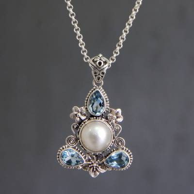 Cultured pearl and blue topaz floral necklace, 'Frangipani Trio' - Artisan Crafted Blue Topaz and Pearl Silver Necklace