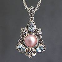 Cultured pearl and blue topaz floral necklace, 'Pink Frangipani Trio' - Unique Pearl and Blue Topaz Pendant Necklace