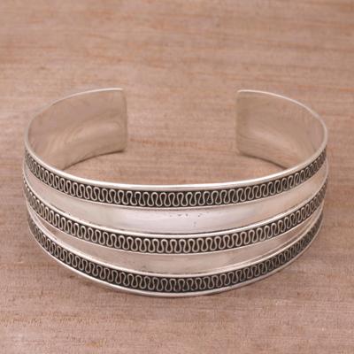 Sterling silver cuff bracelet, 'Balinese Ruffles' - Modern Sterling Silver Cuff Bracelet
