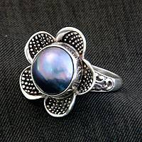 Cultured pearl cocktail ring, 'Blue Jasmine' - Handcrafted Floral Sterling Silver and Pearl Ring