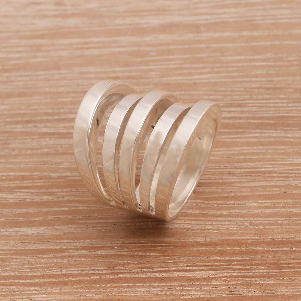 Sterling Silver Band Ring from Bali and Java, 'Upward Spiral'