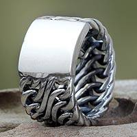 Men's sterling silver ring, 'Fire Lord' - Men's Handcrafted Sterling Silver Band Ring