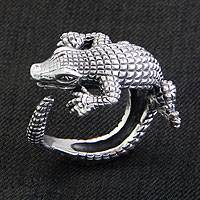 Sterling silver band ring, 'Baby Crocodile'