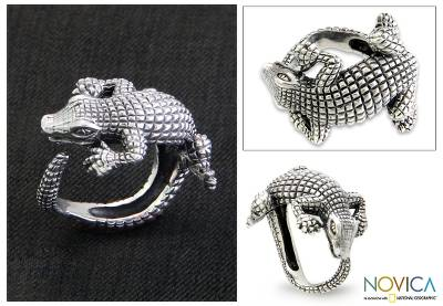 Sterling silver band ring, 'Baby Crocodile' - Hand Made Sterling Silver Ring from Indonesia