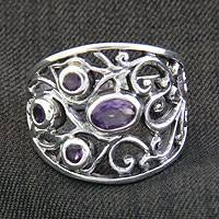 Amethyst band ring, 'Tree of Life' - Handcrafted Amethyst and Silver Ring
