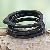 Horn bangle bracelets, 'Borneo Jungle' (set of 3) - Modern Horn Bangle Bracelets (Set of 3)
