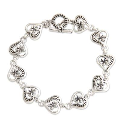 Handmade Plumeria Flower Sterling Silver Heart Shaped Link Bracelet